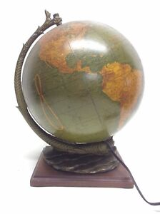 Vintage 10 5 Cram S Terrestrial Serpent Glass Globe Bronze Metal Wood Base Ussr