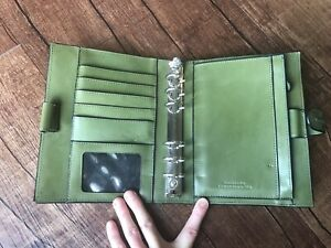 Compact 6 Ring Green Unstructured Leather Franklin Covey Planner Binder Guc Snap