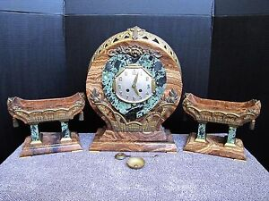 Antique Art Deco French Medaille D Or Marble Clock W Pair Of Urns