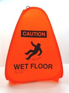 Caution Wet Floor Sign Collapsible Safety Orange English