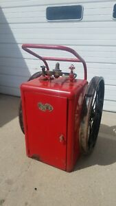 Vintage c o two Wheeled Enclosed Fire Extinguisher Cart Rare