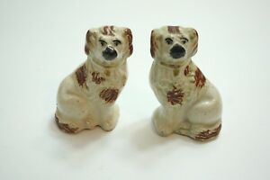 Pair Of Antique Staffordshire 4 Brown And White Spaniel Dogs Right Left Set