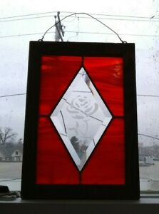 Vintage Leaded Stained Glass Panel Rose In Middle 12 5 By 8 75