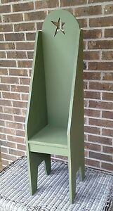 Primitive Country Rustic Handmade 40 Tall Green Doll Hearthside Chair W Star