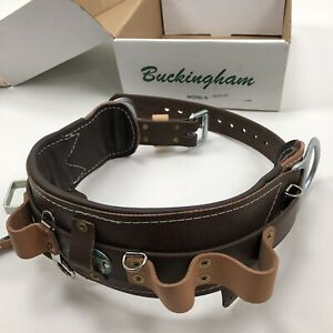 New With Box Buckingham 22 Climbing Brown Leather D ring Belt