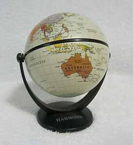 Hammond Desk Top World Globe Miniature 5 Swivel Tilt Rotating Euc
