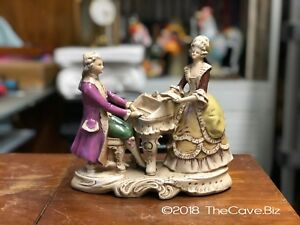 Rare Antique Grafenthal German Porcelain Figure Statuettes Like Courting Dresden