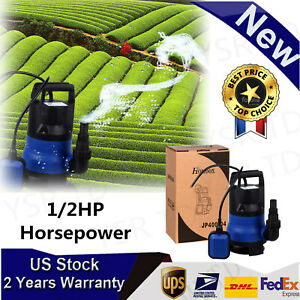 Powerful 1 2hp Electric Submersible Water Pump Garden Pond Pool Flood Drain Blue