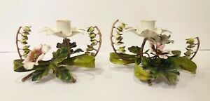 Vtg Pair 2 Tole Toleware Painted Lily Of The Valley Bell Floral Candle Holders
