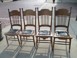 Antique 1900 S Spindle Back Brass Embelish Wood Dining Room Chairs Set Of 4