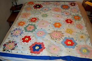 Vtg Hand Sewn Quilt Grandmother S Flower Garden Pattern Euc