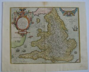 England Wales Antique Map By Abraham Ortelius 1573 And Later