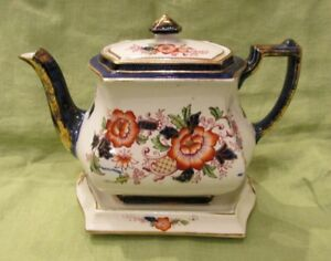 Antique 1892 S Johnson Ltd Burslem Brittania Pottery Imari Gold Teapot