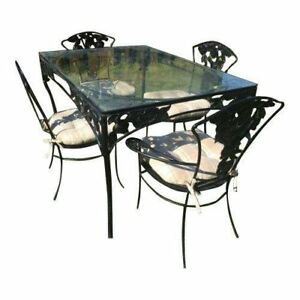 Woodard Pomegranate Vintage Wrought Iron Patio Table 4 Chair Dining No Glass