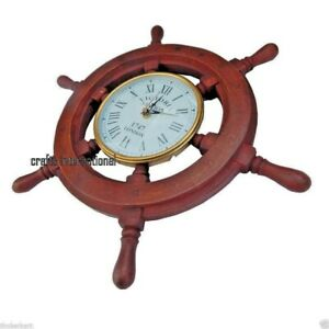 Antique Wooden Nautical Ship Wheel Wall Clock Wall Mount Quartz Clock