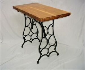 Vintage Cast Iron Sewing Machine Table Base With Solid Cedar Wood Top Metal Art