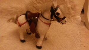 Antique 1800s American Folk Art Carved Wooden With Saddle Harness Toy Horse