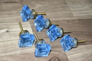Vintage Blue Square Single Glass Brass Door Knob Handle Drawer Pulls 6 Pic