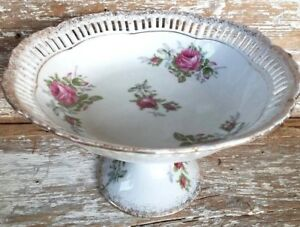 Large Lefton Compote Pedestal Fruit Bowl Footed Dish Red Roses Reticulated 20407