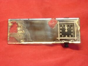 Vintage Chevrolet Rear View Mirror With Phinney Walker Square Clock 1920 S 1930s