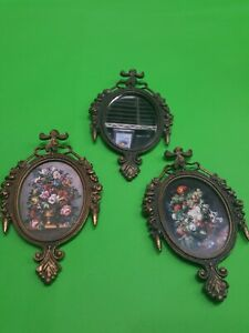 Vintage Small Ornate Oval Brass Picture Frame Made In Italy Set Of 3
