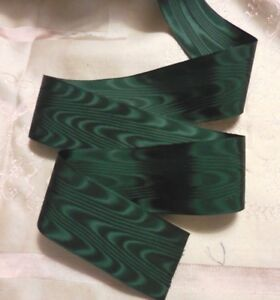 Bty 1 1 2 Vintage Silky Hunter Green Moire Rayon Taffeta Ribbon Doll Craft