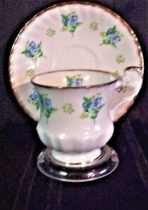 Queens Rosina Fine China Tea Cup Saucer Blue Yellow Floral Gold Trim