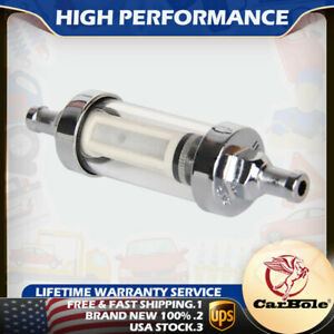 High Performance Fuel Filter Clear View Inline 5 16 Chrome Hose Barb Plated Us