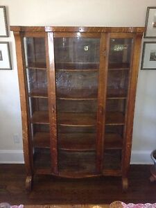Antique Victorian Empire Oak China Cabinet Bow Curved Glass Front 62h X42w X16d