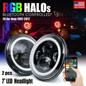 2x 7inch 60w Cree Rgb Halo Ring Bluetooth App Led Headlights Jeep Wrangler Jk Tj