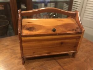 Vintage Pine Wood Sewing Storage Box Double Hinged Lid Knitting Antique Handmade