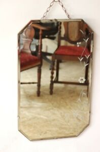 Vintage Retro Beveled Wall Mirror Floral Etched Free Shipping 5127