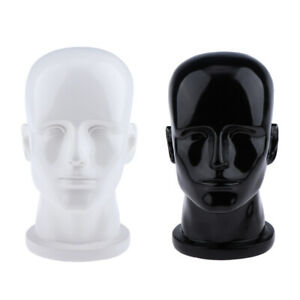2 pack Glossy Male Pvc Styrofoam Wig Display Head Mannequin Manikin Hat Rack