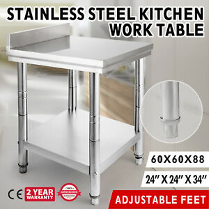 24x24 Kitchen Work Table Prep Bench backsplash House Restaurant Storage Shelf