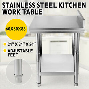 Stainless Steel Kitchen Table Restaurant Work Table Bench W Backsplash 60x60x88