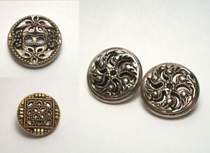 Antique Twinkle Buttons Metal Mirror Back Lot Of 4 Mixed 15 20mm