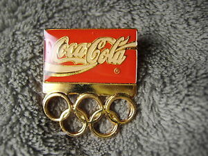 Coke Olympic Hat Lapel Pin            Coca Cola Olympics Rings Red Pop
