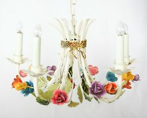 Vintage Mid Century Italian Tole Roses Floral Flowers Five Arm Chandelier