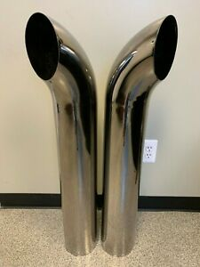 Chrome Exhaust Stack Curved Top 6 x40 pair