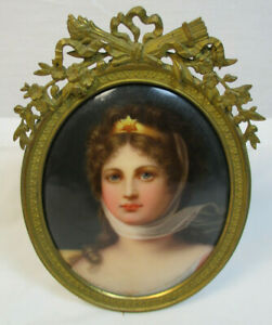 Antique Hand Painted Kpm Style Porcelain Portrait Plaque Queen Louise 613