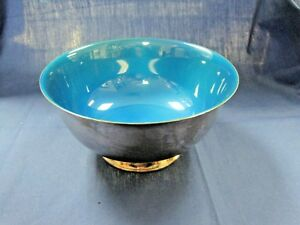 Reed Barton Silver Plated Paul Revere Bowl Beautiful Blue Enamel