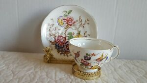 Vintage Adderley Bone China Tea Cup And Saucer Flower And Bird Theme Excellent