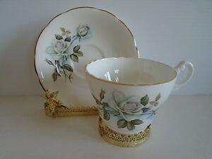 Consort Fine Bone China Tea Cup Saucer England Gorgeous White Roses Ship Fast
