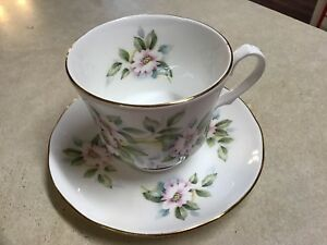 Royal Winchester English Bone China Tea Cup And Saucer Pink Flowers Green Leaves