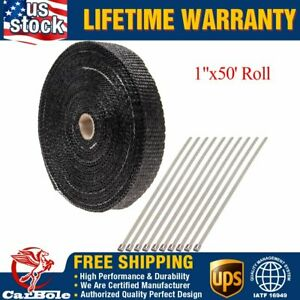 Exhaust Heat Wrap 1 X50 Titanium Header Shield Wrap Tape W 10 Stainless Ties Us