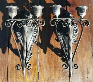 Vintage Pair Of Wrought Iron Wall Mount Electric Light Fixture Sconce Gothic