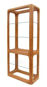 Vintage Gabriella Crespi Style Pencil Reed Bamboo Glass Etagere 70 S 2 Of 2