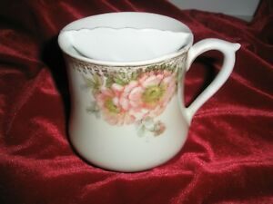 Vintage Mustache Coffee Tea Cup Porcelain With Gold Gilding And Rose Design