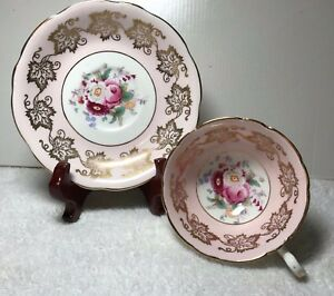 Vintage Eb Foley Bone China Tea Cup Saucer Adorned Gold Pink Floral England