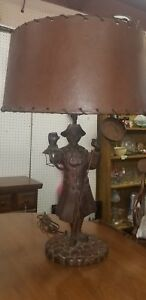 Rare Antique Carved Wood Paul Revere Lamp W Leather Shade Nightlight Works